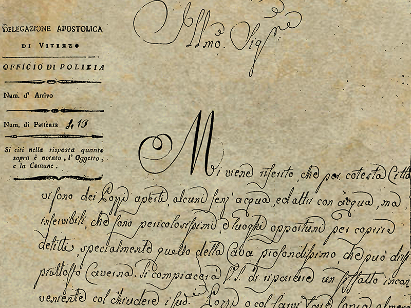 Apre il canale YouTube del Pozzo della Cava e ricorda la lettera del 1820